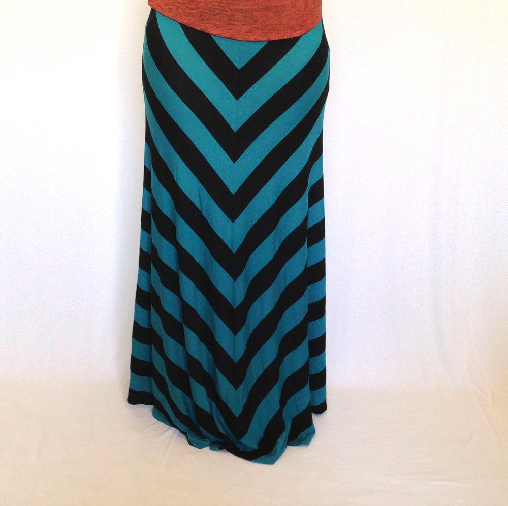 teal-chevron-maxi-skirt