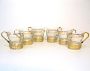 golden key tea cups
