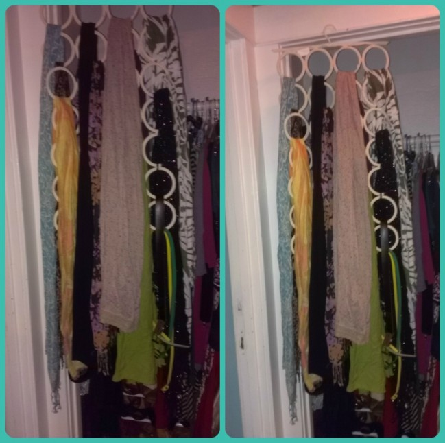 organized scarf hanging for 10